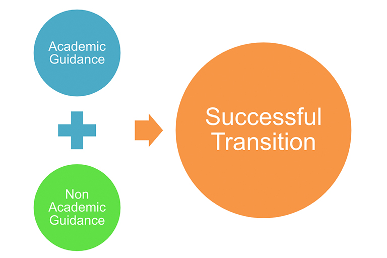 Graphic of a chart showing that academic guidance and non-academic guidance produce a successful transition for transfer students